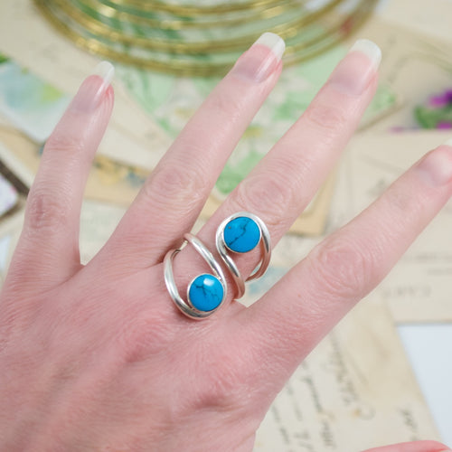 Turquoise Adjustable Ring from Taxco, Mexico