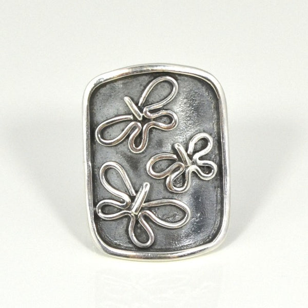 .950 Sterling Silver Flying Butterflies Ring