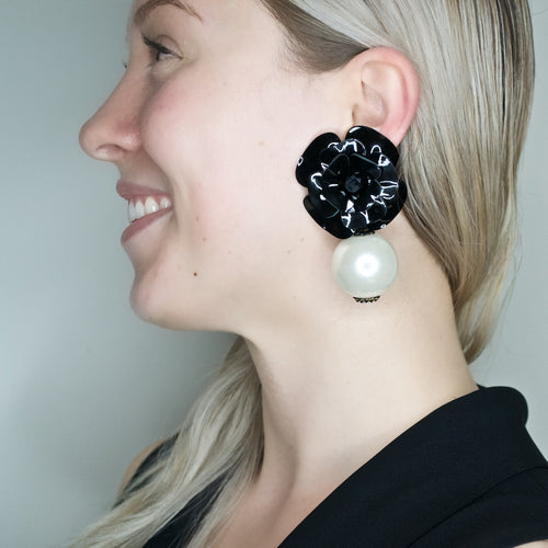 Dramatic Leather Flower with Swarovski Pearl Pendant Earrings by DUBLOS
