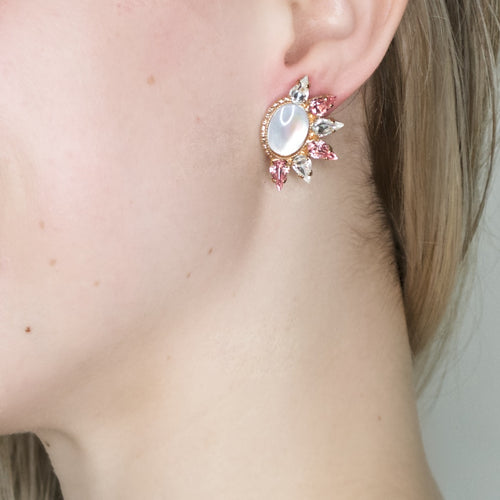 Spikey Mother of Pearl Earrings by AMARO