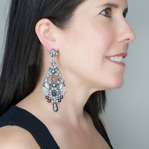 Stunning Silver Grey Crystal Pendant Earrings by DUBLOS