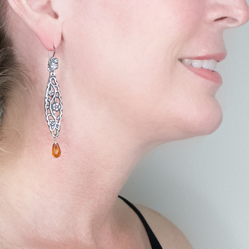 Silver Filigree Mold and Amber Drop Earrings