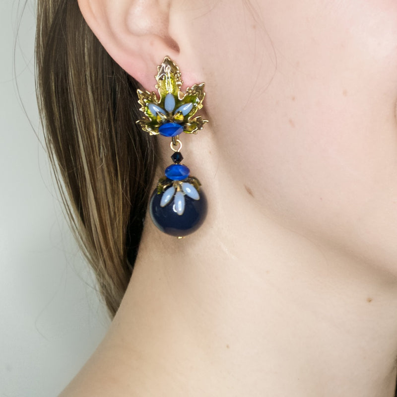 Crystal Blue Leaf Drop Earrings by DUBLOS