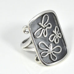 Sterling Silver Flying Butterflies Ring