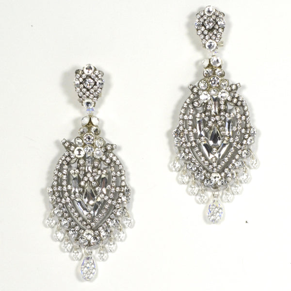 Silver and Crystal Pendant Earrings by DUBLOS
