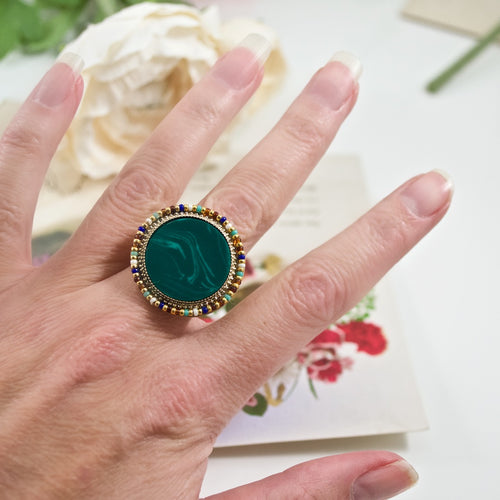 Malachite Statement Ring by Satellite Paris