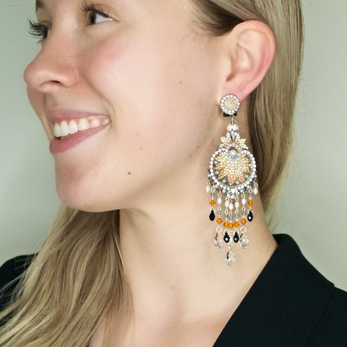 Pearl and Sparkle Chandelier Drop Earrings by DUBLOS
