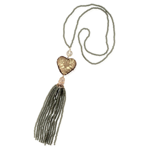Long Beaded and Embroidered Heart and Tassel Necklace - Grey