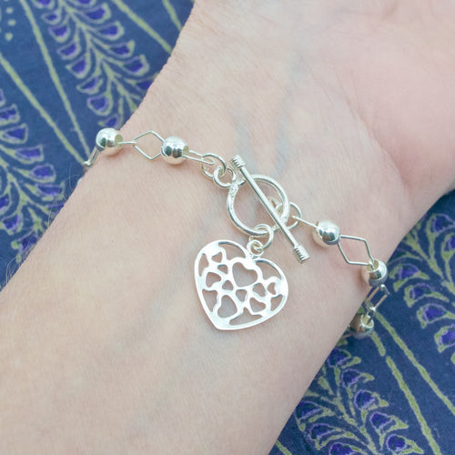 Silver Heart Charm Bracelet from Taxco, Mexico