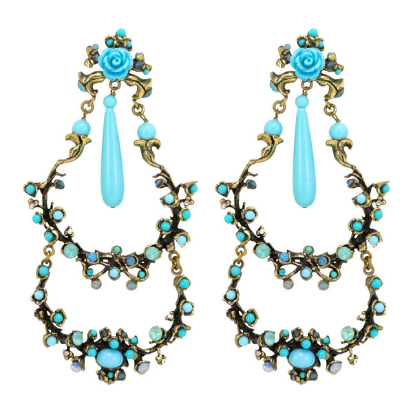 Vintage Turquoise Drop Earrings - Paris Flea Market Find