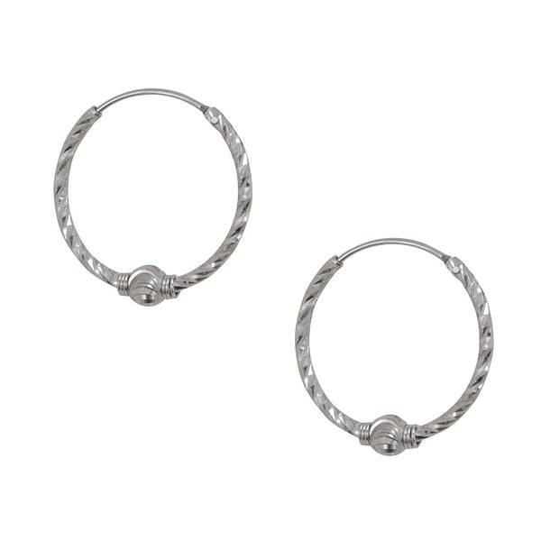 White Gold and Silver Hoops
