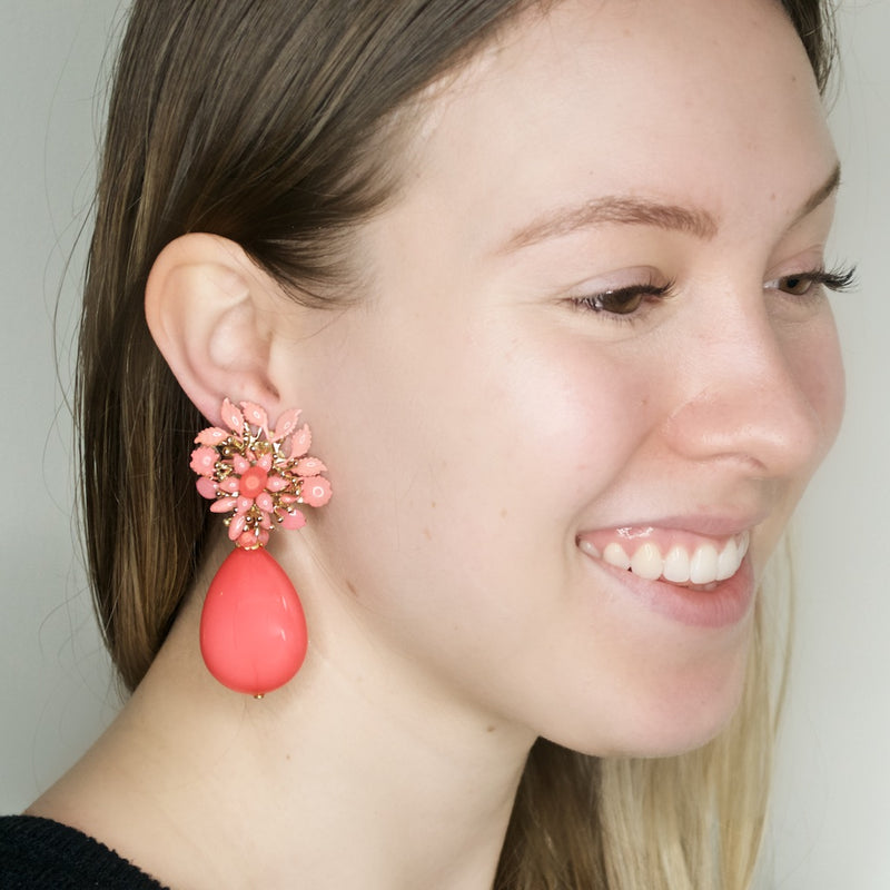 Pink Floral Drop Pendant Earrings by DUBLOS