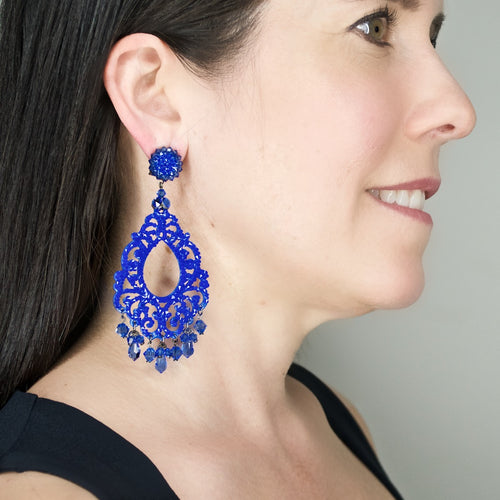 Sparkling Blue-Purple Drop Earrings by DUBLOS