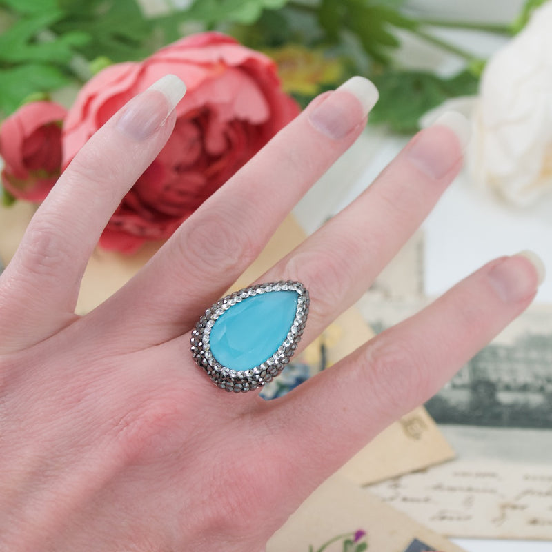 Aqua Marine Cat's Eye Adjustable Ring