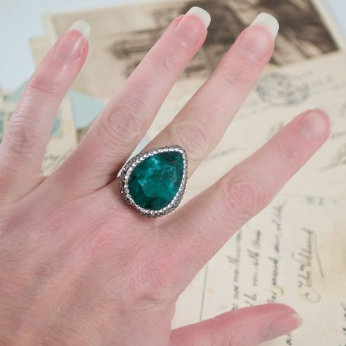 Semi-Precious Emerald Adjustable Ring