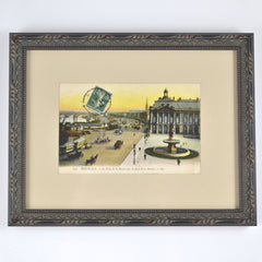 Custom Framed Vintage Postcard - La Place de la Bourse, Bordeaux, France