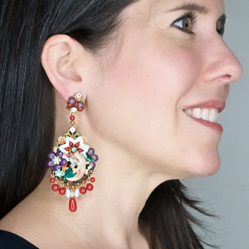 Hand Painted and Mother of Pearl Dragon Pendant Earrings by DUBLOS