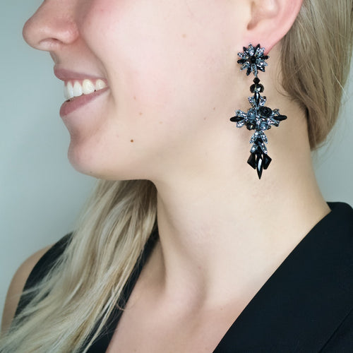 Chic Crystal Cross Earrings by DUBLOS - Black and Grey