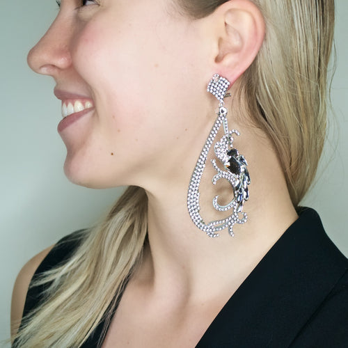 Dramatic Crystal Statement Earrings by DUBLOS