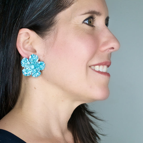 Baby Blue Mother of Pearl Flower Earrings by DUBLOS