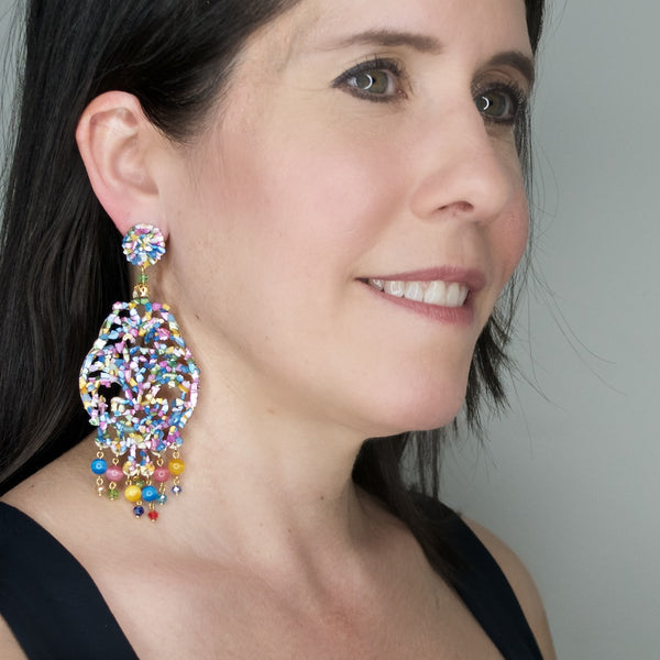 Mother of Pearl Multi-Color Pendant Earrings by DUBLOS