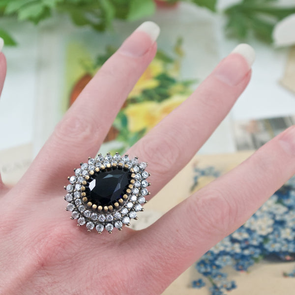 Ottoman-Inspired Sapphire Crystal Statement Ring - Size 8
