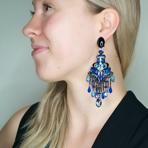 Stained Glass-like Art Deco-Inspired Chandelier Earrings by DUBLOS - Blue