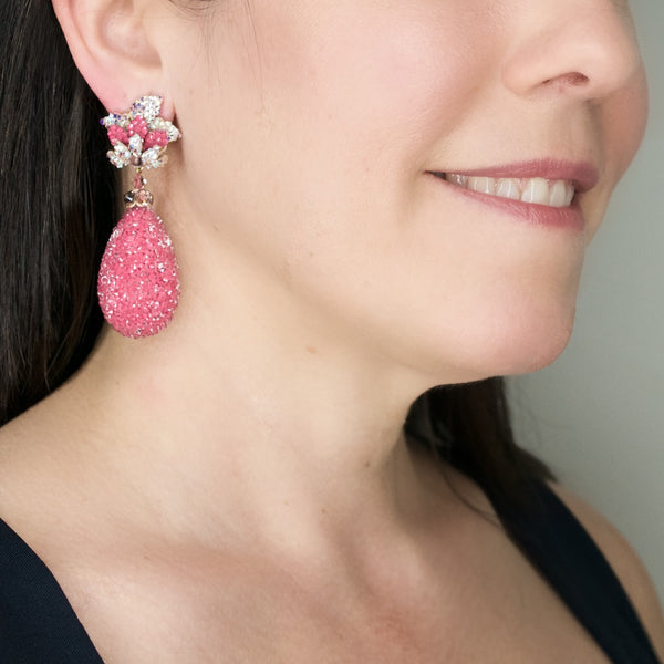 Crystal Rose Tear Drop Earrings by DUBLOS