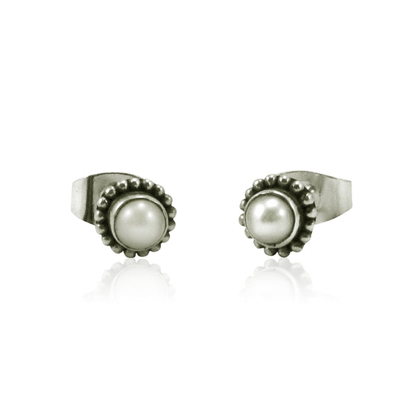 Sterling Silver and Pearl Post Earrings