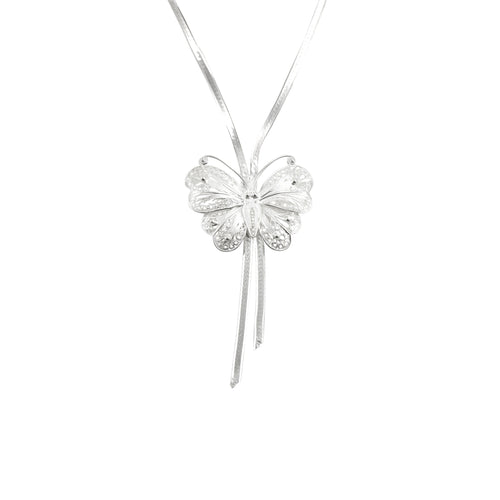 Sterling Silver Filigree Butterfly Drop Necklace