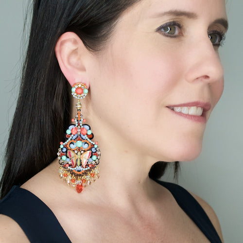 Colorful Drop Butterfly Earrings by DUBLOS