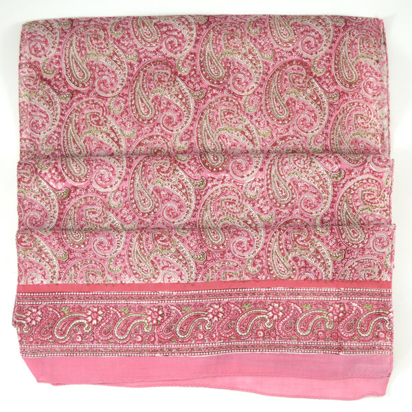 Hand Block Printed Scarf by Anokhi - Pink Paisley