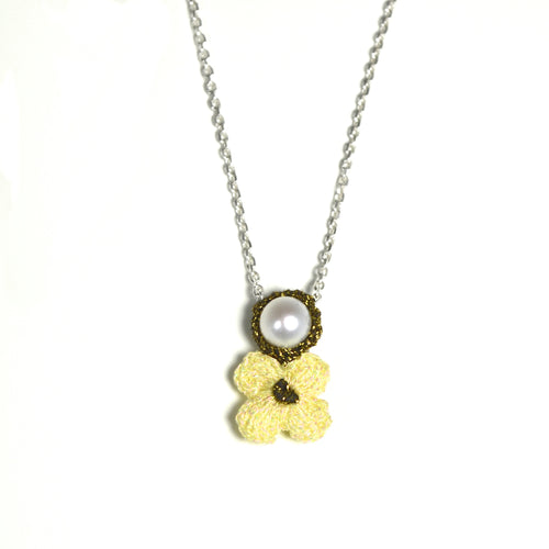 Ivory Hand Crocheted Flower and Pearl Necklace by Atelier Godolé