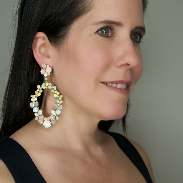 Mother of Pearl Floral Wreath Pendant Earrings by DUBLOS