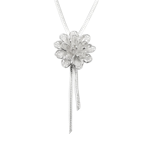 Sterling Silver Filigree Flower Drop Necklace