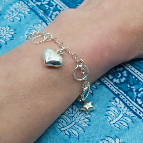 Silver Heart and Star Charm Bracelet from Taxco, Mexico