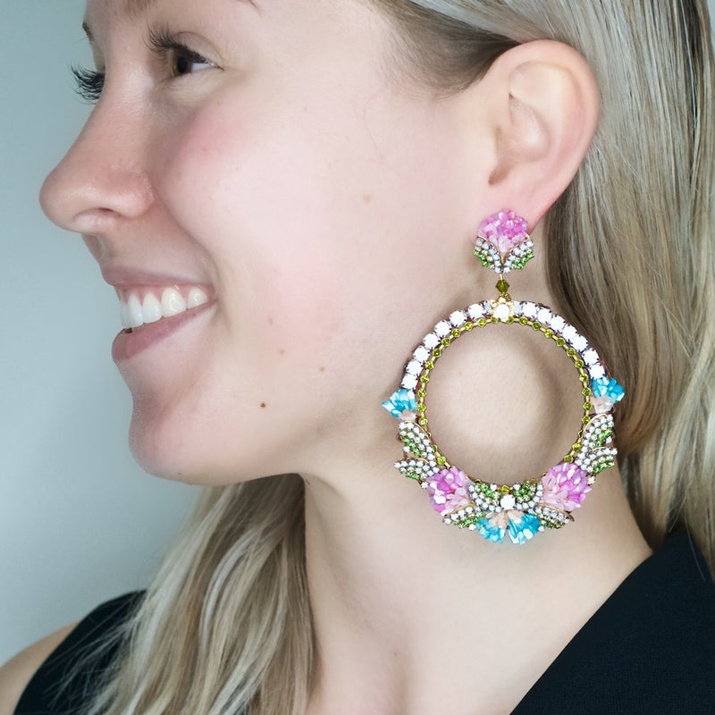 Mother of Pearl and Swarovski Crystal Circle Earrings by DUBLOS - Pink, Green and Blue