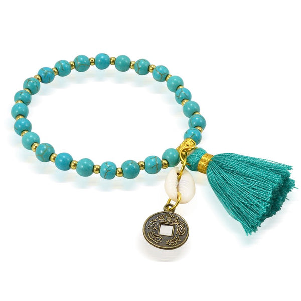 Balinese Traditional Coin and Tassel Turquoise Colored Bead Bracelet - One Size Fits Most