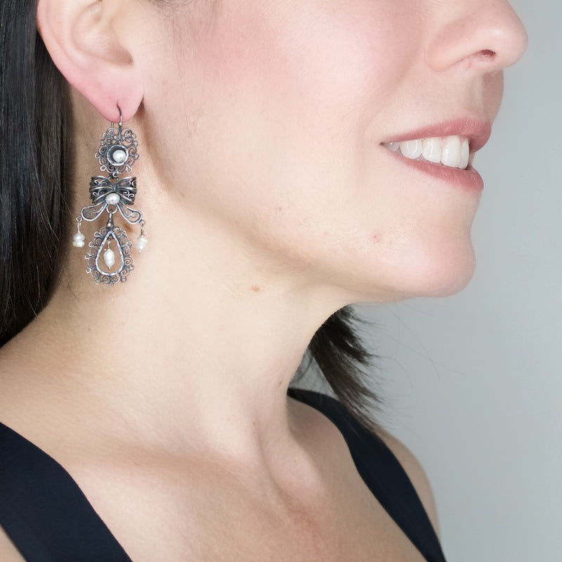 "Sterling Silver Frida Kahlo ""Jardin"" Filigree Earrings with Pearls"