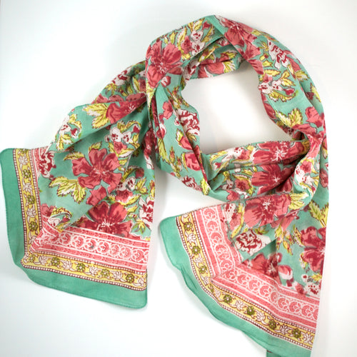 Hand Block Printed Scarf by Anokhi - Sorbet