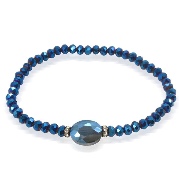 Navy Blue Sparkle Crystal Bracelet- One Size Fits Most