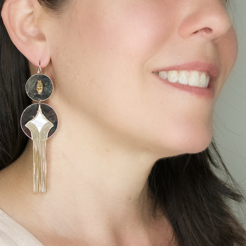 Mother of Pearl Double Drop Earrings by Satellite Paris
