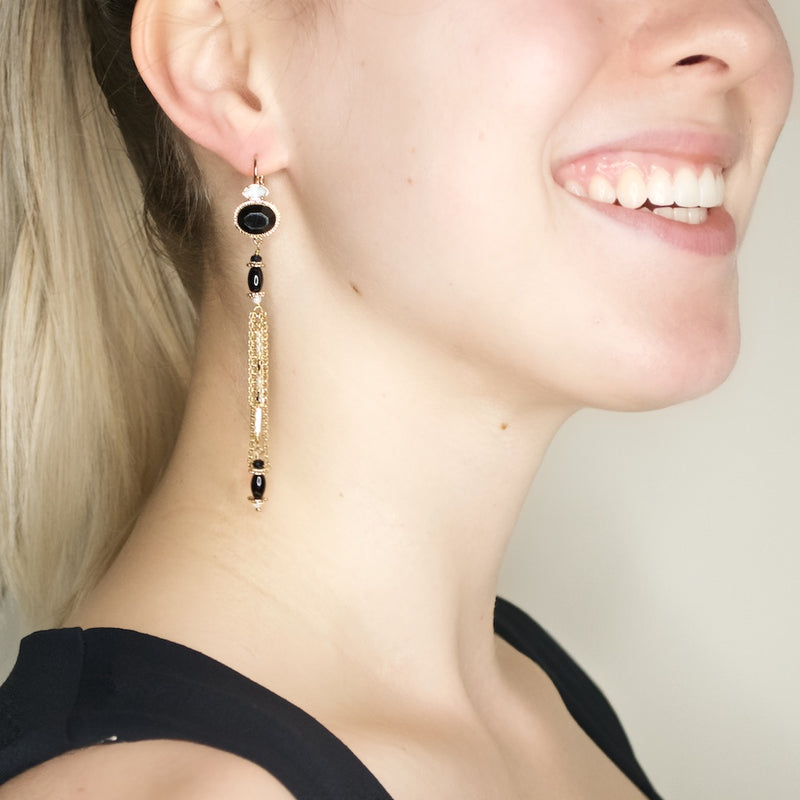 Onyx and Swarovski Crystal Tassel Earrings by Satellite Paris