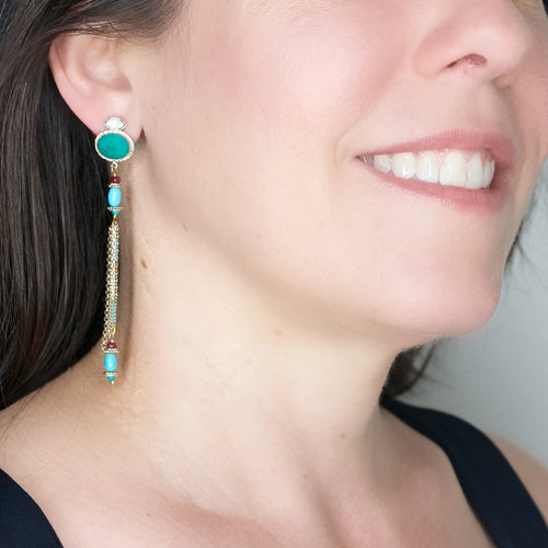 Amazonite and Swarovski Crystal Tassel Earrings by Satellite Paris