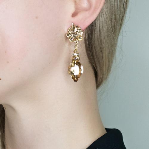 Glittering Crystal Drop Earrings by DUBLOS