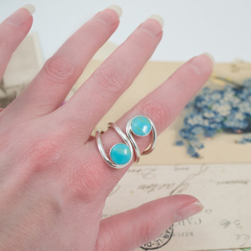 Turquoise Silver Adjustable Ring from Taxco, Mexico