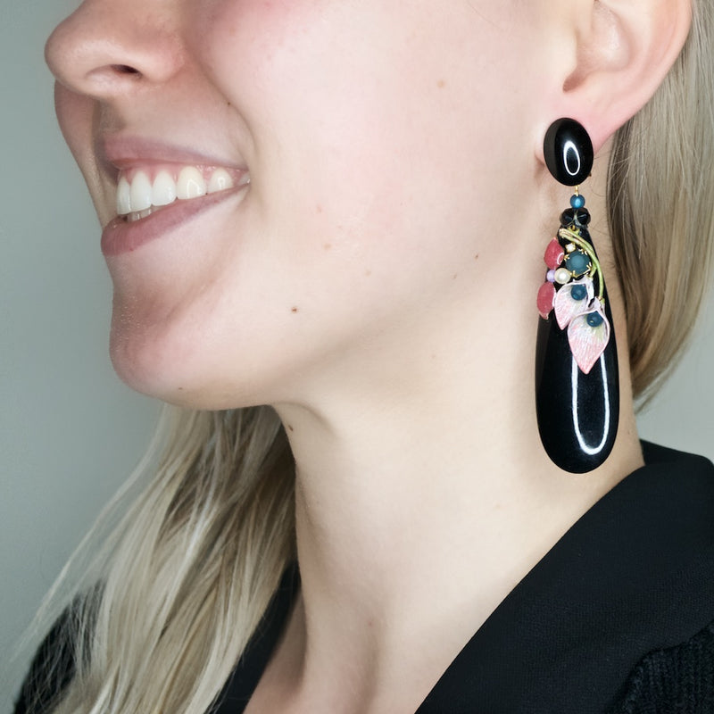 Hand Painted Calla Lily Tear Drop Earrings by DUBLOS
