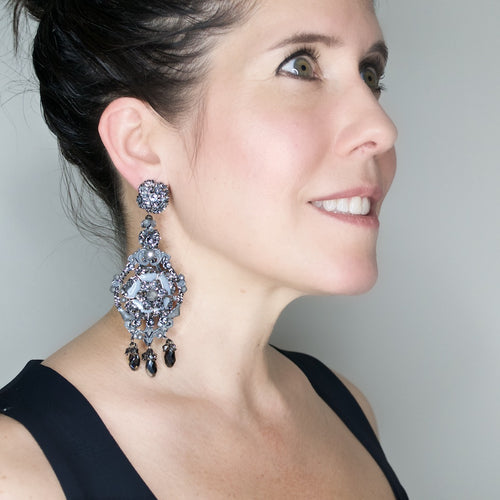 Dazzling Grey Swarovski Pendant Earrings by DUBLOS