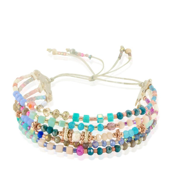 Multi-Cord Vibrant Beaded and Silver Bracelet by CLO&LOU