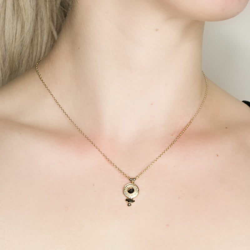 Delicate Onyx and Crystal Necklace  by Satellite Paris